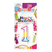 #1 RAINBOW CANDLE WITH TOPPER (24 PCS) PF-6255