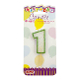 "1.75"" NUMERAL GLITTERED PICK CANDLE #1 (24 PCS) PF-6611"