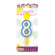 "1.75"" NUMERAL GLITTERED PICK CANDLE #8 (24 PCS) PF-6618"