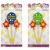3 BIRTHDAY BALLOON PICK CANDLES GREEN/BLUE (24 PCS) PF-6605