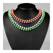 "SALE! 4 PCS 30"" ASSORTED NEON BEAD NECKLACE (48 PCS) PF-7353"