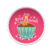 "CUPCAKES - 8 PCS 7"" PLATES (24 PACKS) PF-24001"