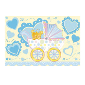 "BABY BOY IN A TROLLEY - 54"" X 72"" TABLECOVER (24 PACKS) PF-18603"