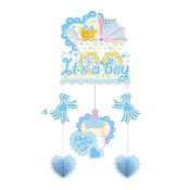 BABY BOY IN A TROLLEY - HANGING MOBILE (24 PACKS) PF-18648
