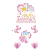 BABY GIRL IN A TROLLEY - HANGING MOBILE (24 PACKS) PF-18748