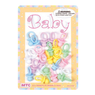 "30 PCS 1"" PACIFIERS ASSORTED COLORS (24 PCS) PF-1669"