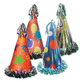 "12 1/2"" FOIL PARTY HAT (24 PACKS) PF-6606"