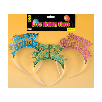 3 PCS LASER BIRTHDAY TIARAS ASSORTED (24 PCS) PF-8087