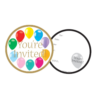 COLORFUL BALLOONS - 8 INVITATIONS (24 PACKS) PF-22840