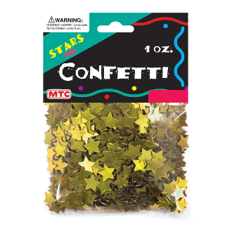 1 OZ METALLIC GOLD STARS CONFETTI (24PACKS) PF-6755