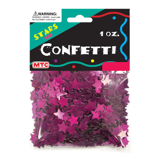 1 OZ METALLIC MAGENTA STARS CONFETTI (24PACKS) PF-6760