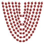 "6 PCS 32"" RED METALLIC 6MM BEAD NECKLACE (24 PCS) PF-6326"