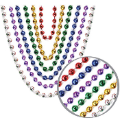 "6 PCS 32"" ASSORTED METALLIC 6MM BEAD NECKLACE (24 PCS) PF-6303"