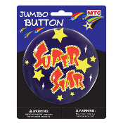 "SALE! 4"" JUMBO BUTTON - SUPER STAR (48 PCS) PF-6103"