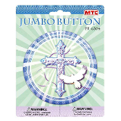 "SALE! 4"" JUMBO BUTTON - BLESSED OCCASIONS BLUE (24 PCS) PF-6304"