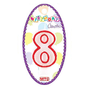 "3"" NUMERAL #8 CANDLE (24 PCS) PF-6911"