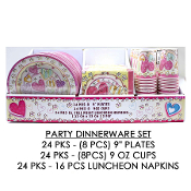 SALE! 72 PC HEART PARTY DINNERWARE DISPLAY SET (1 SET) 33358
