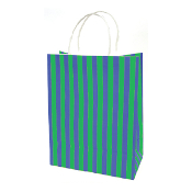 SALE! 144 PCS GREEN MEDIUM STRIPES KRAFT GIFT BAGS PF-2150