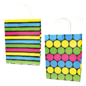 SALE! 144 PCS DOTS MEDIUM KRAFT GIFT BAGS ASSORT PF-2230