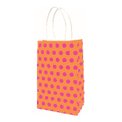 SALE! 144 PCS ORANGE SMALL POLKA DOT KRAFT GIFT BAGS PF-2159