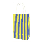 SALE! 144 PCS YELLOW SMALL STRIPES KRAFT GIFT BAGS PF-2196