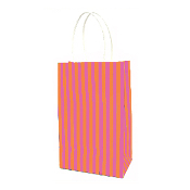 SALE! 144 PCS ORANGE SMALL STRIPES KRAFT GIFT BAGS PF-2205