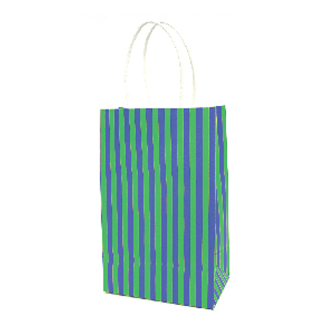 SALE! 144 PCS GREEN SMALL STRIPES KRAFT GIFT BAGS PF-2197