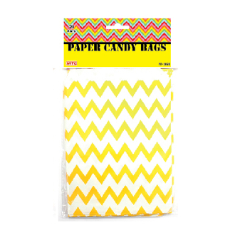 20 PCS ZIGZAG TREAT BAGS - YELLOW (24 PACKS) PF-2059