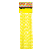 20 PCS ZIGZAG PAPER STRAWS - YELLOW (24 PACKS) PF-2095