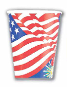 SALE! 8 PCS 9 OZ CUP - FLAG (48 PKT) PF-2900