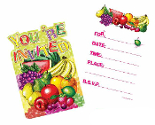 SALE! 8 PCS INVITATIONS - TROPICAL FRUITS (48 PCS) PF-20740
