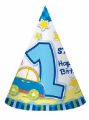 SALE! 8 PARTY HATS - 1ST TOY CAR (48 PCS) PF-26532