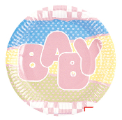 "SALE! 8 PCS 7"" PLATES - BABY GIRL (48 PACKS) PF-9801"