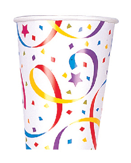 SALE! 8 PCS 9OZ CUPS - BIRTHDAY STREAMERS (48 PCS) PF-10200