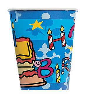 SALE! 8 PCS 10 OZ CUPS - BIRTHDAY CELEBRATION (48 PCS) PF-9400