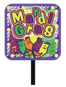 "SALE! MARDI GRAS-14""X14"" PVC YARD SIGN (48 PKS) PF-7072"