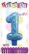 "3"" NUMERAL GLITTERED CANDLE - #1 BLUE (24 PCS) PF-2324"
