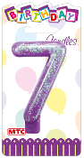 "3"" NUMERAL GLITTERED CANDLE - #7 (24 PCS) PF-2332"