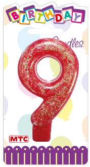 "3"" NUMERAL GLITTERED CANDLE - #9 (24 PCS) PF-2334"