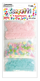 1 OZ. STAR CONFETTI - PINK/BLUE/MULTI BRIGHT (24PACKS) PF-2733