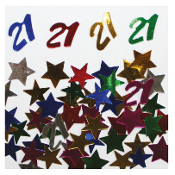 2/3 OZ. CONFETTI - #21 & STARS (24 PACKS) PF-2750