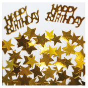 2/3 OZ. CONFETTI - BIRTHDAY & STARS GOLD (24 PACKS) PF-2760