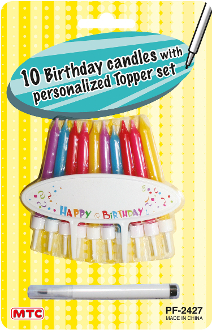 10 B'DAY CANDLES W/ PERSONALIZE TOPPER-ASST (24 PCS) PF-2427