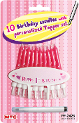10 B'DAY CANDLES W/ PERSONALIZE TOPPER-PINK(24 PCS) PF-2426