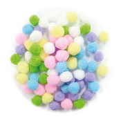 "80 PC 1"" POM-POMS - PASTEL ASSORT (24 PACKS) PF-2818"