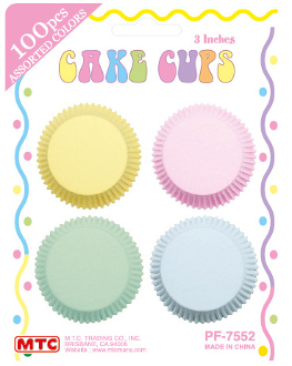 "100 PCS 3"" ASSORTED PASTEL COLOR CAKE CUPS (24 PACKS) PF-7552"