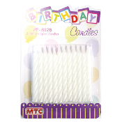 24 WHITE SPIRAL CANDLES (24 PACKS) PF-8128