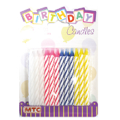 24 ASSORTED SPIRAL CANDLES (24 PACKS) PF-8701