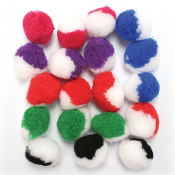 "20 PC 1.5"" 2-TONE POM-POMS - BRIGHT ASSORT (24 PACKS) PF-3383"