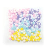 "150 PC 0.5"" 2-TONE POM-POMS - PASTEL ASSORT (24 PACKS) PF-3380"